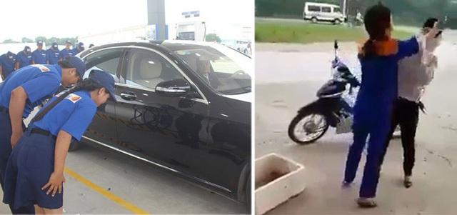 Hai hình ảnh trái ngược: Nhân viên cây xăng Việt đánh khách hàng (ảnh phải), trong khi ở cây xăng Idemitsu Q8 (Cty TNHH Xăng dầu Idemitsu Q8, 100% vốn Nhật Bản) tại Hà Nội là thái độ tôn trọng khách hàng tuyệt đối. Ảnh: SƠN TÙNG
