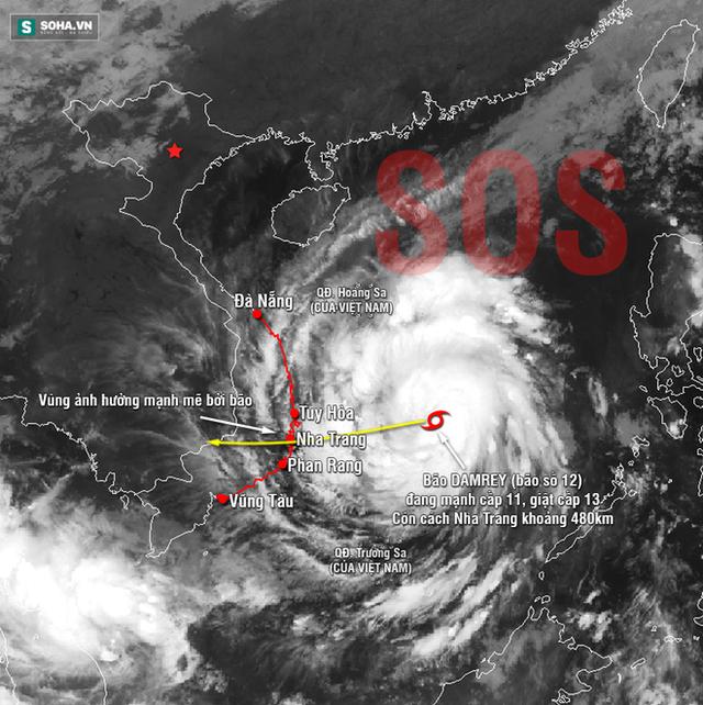 Ảnh vệ tinh bão Damrey (bão Con Voi).