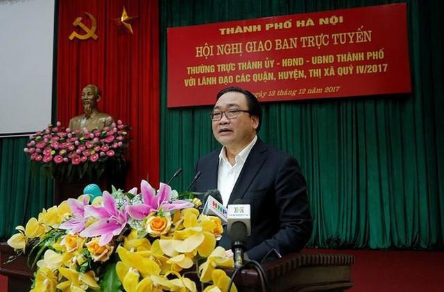 Bí thư Thành ủy Hà Nội Hoàng Trung Hải phát biểu kết luận hội nghị.