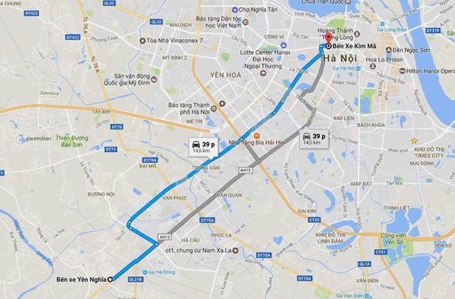 Lộ trình tuyến buýt nhanh BRT số 1 nằm trên hành lang giao thông vốn thường xuyên xảy ra ùn tắc. Ảnh: Google Maps.