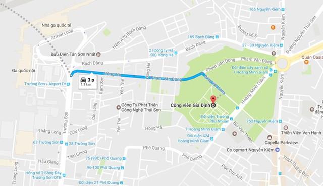 Công viên Gia Định cách sân bay Tân Sơn Nhất hơn 1 km. Ảnh: Google Maps.