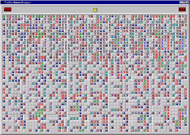 Trò chơi Minesweeper với thao tác nhấn chuột phải, chuột trái liên tục.
