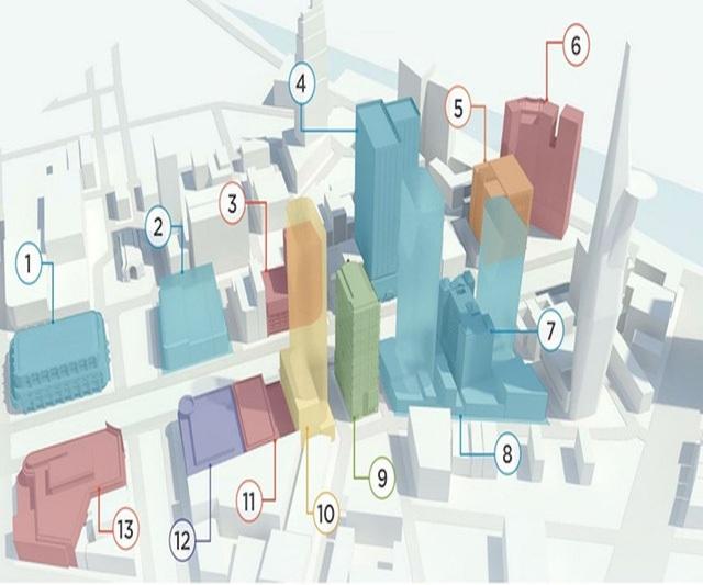 Vị trí: 1. Union Square; 2. TTTM Nguyễn Huệ - Lê Lợi; 4. Saigon Times Square; 7. Khách sạn Duxton do Vạn Thịnh Phát sở hữu. 8. Khu tứ giác vàng; 9. Sunwah Tower; 10. BIDV Tower; 13. Khách sạn Rex. Đồ họa: Zing.vn