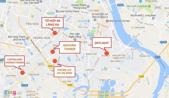 Một số chung cư tại Hà Nội vừa bị Đoàn Thanh tra liên ngành chỉ ra sai phạm. Đồ họa: Hiếu Công.