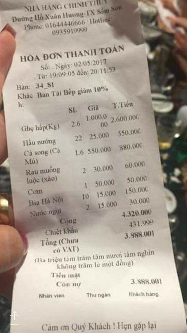 Nhà hàng ở Sầm Sơn nói về việc bị tố chặt chém giá ghẹ 1 triệu đồng/kg - Ảnh 1.