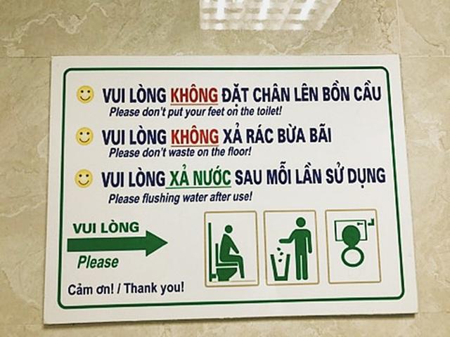 Bảng nội quy ở nhà vệ sinh các tòa nhà.