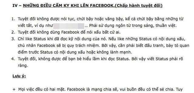 Những điều cấm kỵ khi lên Facebook, 1 trong những quy định của trường Lương Thế Vinh
