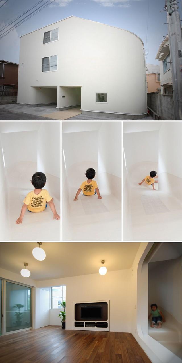 Đây là căn nhà không bậc cầu thang mà chỉ có cầu trượt. Trượt từ tầng nọ xuống tầng kia là những trải nghiệm lý thú không chỉ với trẻ con mà còn cả người lớn.