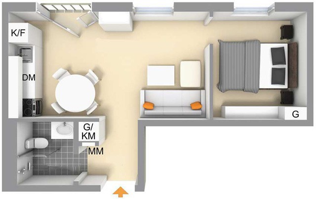 Toàn bộ sơ đồ bố trí không gian trong căn hộ 36m2.