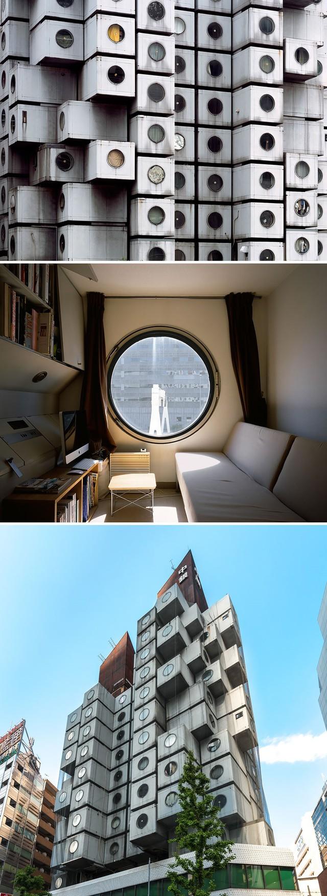 Tháp Nakagin Capsule tại Tokyo là tập hợp các căn hộ siêu nhỏ với tiện nghi tối giản. Từ bên ngoài, tòa nhà trông những những lốc điều hòa nhấp nhô.