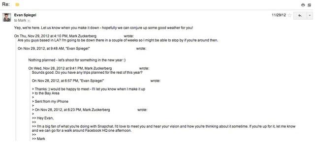 Đoạn email hẹn gặp thương lượng về vụ sáp nhập giữa Mark Zuckerberg và Evan Spiegel