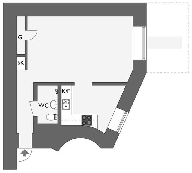 Sơ đồ thiết kế không gian căn hộ.