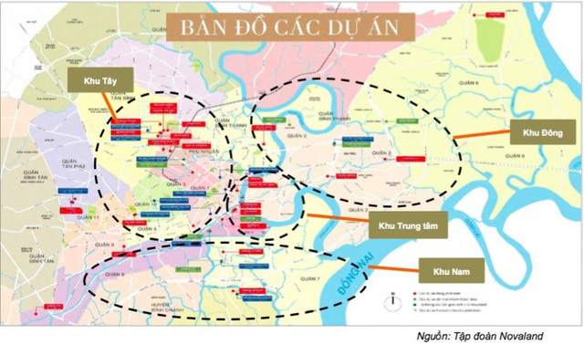 Quỹ đất, dự án của Novaland ngày càng phình to thông qua chiến lược M&A. Vị trí các dự án nằm chủ yếu ở các khu trung tâm Sài Gòn.