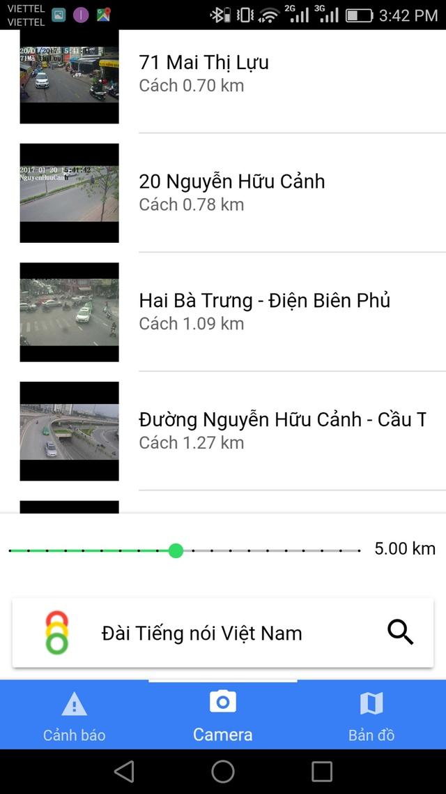 Danh sách camera giao thông chung quanh khu vực người dùng đang đứng sẽ được hiển thị.