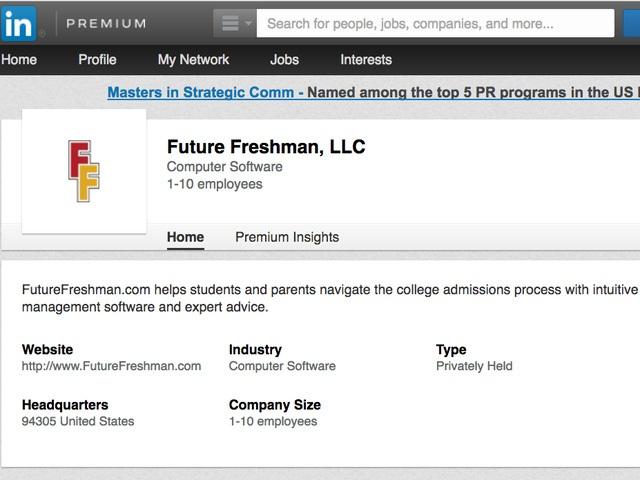 Trang giới thiệu công ty Future Freshman