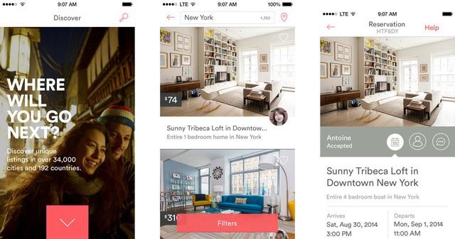 Giao diện đăng tải nhà cho thuê trên ứng dụng Airbnb