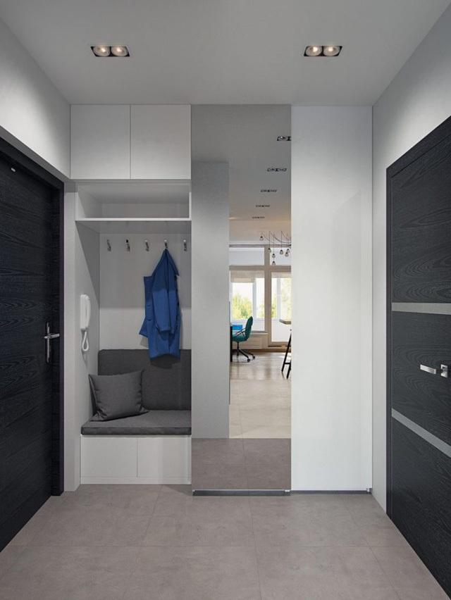 Bước vào căn hộ nơi đầu tiên mà mọi người nhìn thấy đó là khu vực nhà tắm. Góc nhỏ này được bố trí kín đáo bên trong cánh cửa rộng.