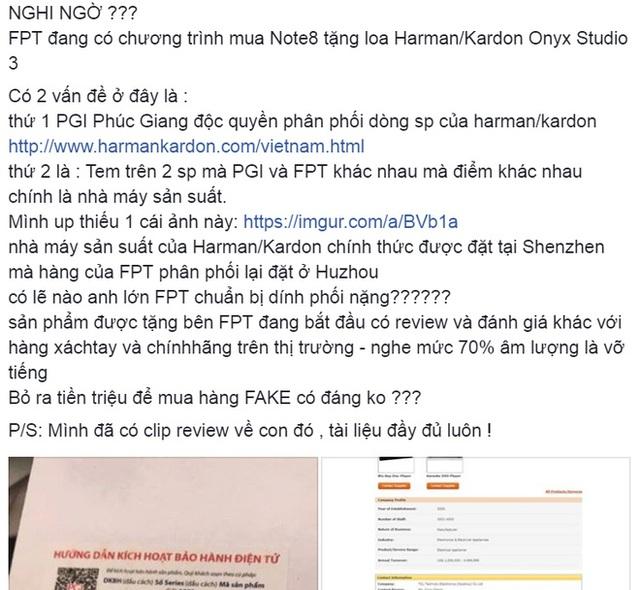 Người dùng nghi ngờ chất lượng loa Harman Kardon tặng kèm Galaxy Note8 của FPT Shop