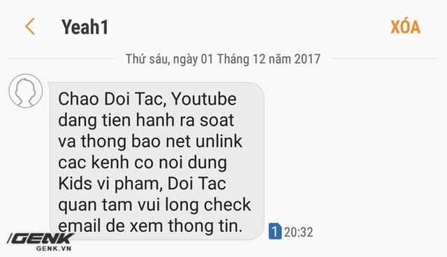 Tin nhắn được Yeah1 gửi đến các chủ kênh