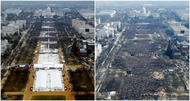 Sự kết hợp của những bức ảnh được chụp tại National Mall cho thấy, đám đông đang tham dự lễ tuyên thệ nhậm chức Tổng thống Donald Trump vào lúc 12:01 chiều ngày 20 tháng 1 năm 2017 (Trái) và Tổng thống Barack Obama lúc 12:07 và 12:26 chiều ngày 20 tháng 1 năm 2009 (Phải).
