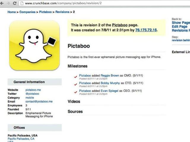 Những hình ảnh đầu tiên về Pictaboo lưu trên Crunchbase