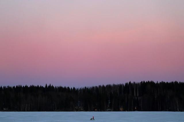 Một phụ nữ đẩy chiếc xe trong lúc cô đi trên hồ nước lạnh vào buổi chiều tà tại trung tâm thể thao Pajulahti gần Lahti, Phần Lan, ngày 21 tháng 2.
