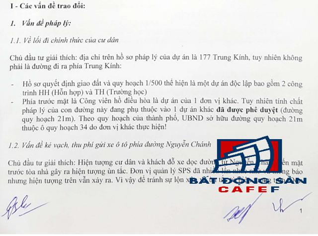 Biên bản họp ngày 8/1/2017 có chữ ký của ông Nguyễn Thế Vinh - Đại Diện chủ đầu tư Văn Phú - Trung Kính.