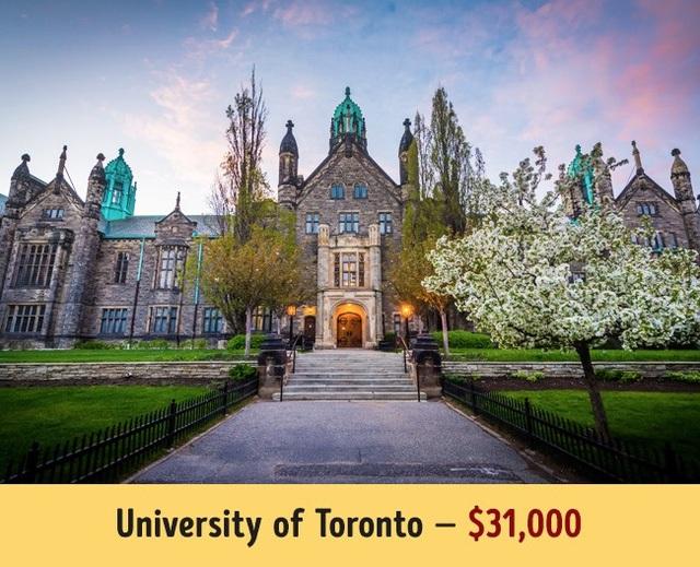 Đại học Toronto có mức học phí trung bình năm là 31.000$.