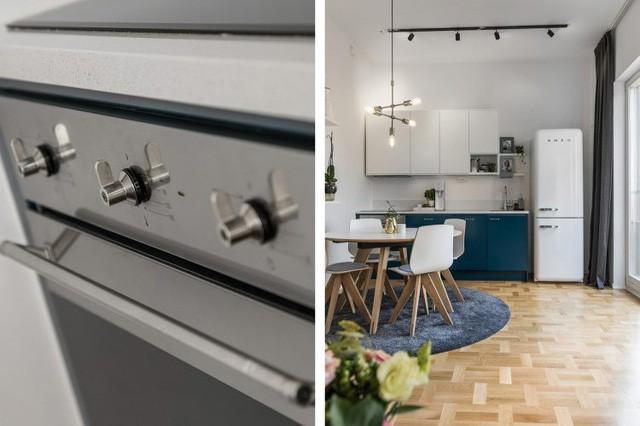 Góc bếp tuy nhỏ nhưng được bố trí vô cùng khéo léo, gọn gàng với những món đồ nội thất nhỏ xinh phù hợp với không gian hẹp.
