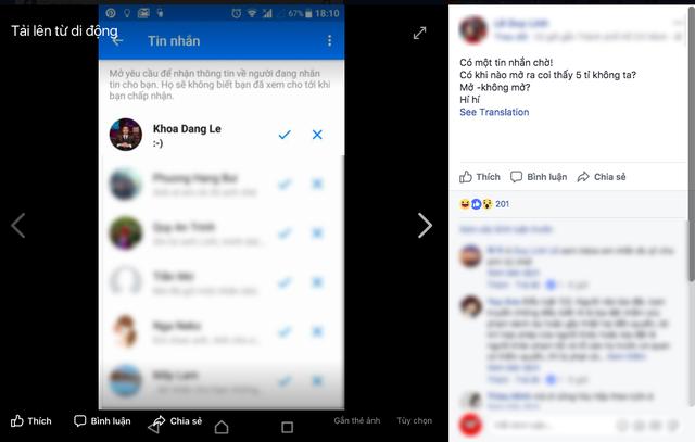 Tuy nhiên Facebook L.D.L không trả lời mà chọn cách chụp màn hình lại đoạn chat rồi đăng lên Facebook.