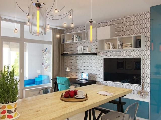 Không chỉ hút mắt trong cách tạo điểm nhấn nội thất màu xanh, những chiếc đèn thả trần, đèn chùm lạ mắt nơi tiếp khách cũng góp phần tạo nên nét độc đáo riêng cho căn hộ nhỏ.