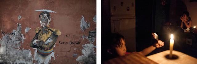Một gia đình ở Chabasquén phải sửa soạn bữa tối trong ánh nến vì mất điện.