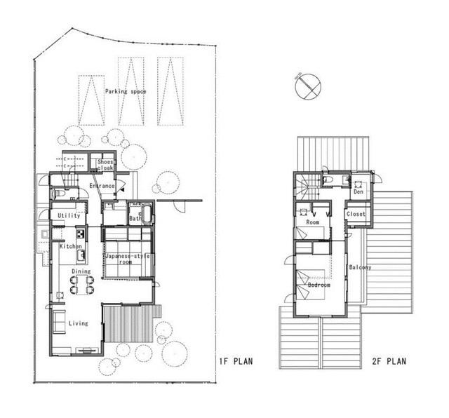 Sơ đồ bố trí không gian tầng 1 và 2 của ngôi nhà.