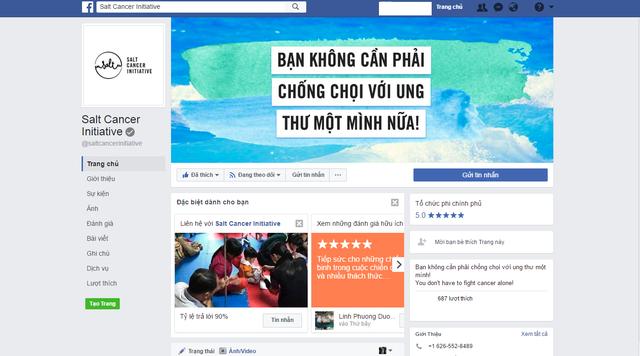 Trang fanpage của Salt Cancer Initiative