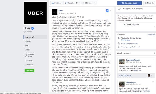 Thông báo về sự kiện này trên trang fanpage của Uber Việt Nam