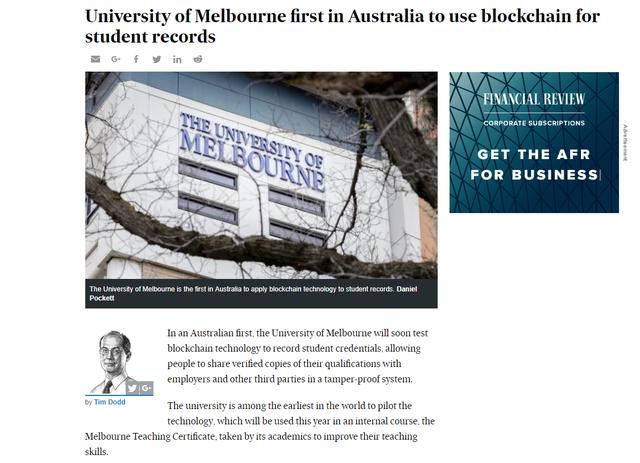 Lần đầu tiên tại Australia, Đại học Melbourne sử dụng Blockchain để ghi nhận điểm số học sinh - Australia chính là một trong số các nước đưa Blokchain vào giáo dục từ khá sớm