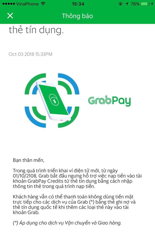 Ứng dụng Grab chính thức phát đi thông báo ngưng hỗ trợ nạp tiền GrabPay từ thẻ tín dụng - Ảnh 1.