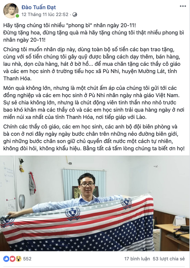 Thầy Hiệu trưởng ở Hà Nội kêu gọi hãy tặng chúng tôi nhiều phong bì ngày 20/11 và câu chuyện ý nghĩa sau đó - Ảnh 1.
