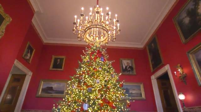 Trang trí Giáng sinh cho Nhà Trắng, bà Melania Trump gây tranh cãi khi sử dụng toàn cây thông màu đỏ - Ảnh 2.