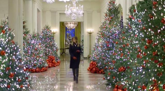 Trang trí Giáng sinh cho Nhà Trắng, bà Melania Trump gây tranh cãi khi sử dụng toàn cây thông màu đỏ - Ảnh 5.