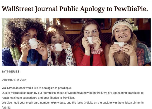 Tờ báo danh tiếng thế giới Wall Street Journal bị hack để đăng lời xin lỗi và kêu gọi mọi người subcribe PewDiePie - Ảnh 1.