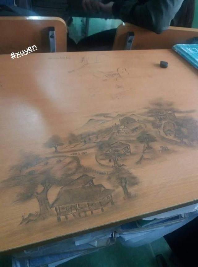 Rảnh tay vẽ giết thời gian, học sinh đã tạo nên siêu phẩm trên bàn tuyệt đỉnh thế này đây - Ảnh 3.