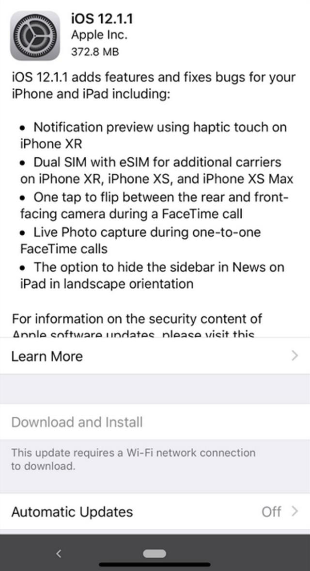 Apple chính thức ra mắt bản cập nhật iOS 12.1.1: Thêm nhiều tính năng cho FaceTime, xem trước thông báo bằng Haptic Touch trên iPhone XR và hỗ trợ SIM kép - Ảnh 1.