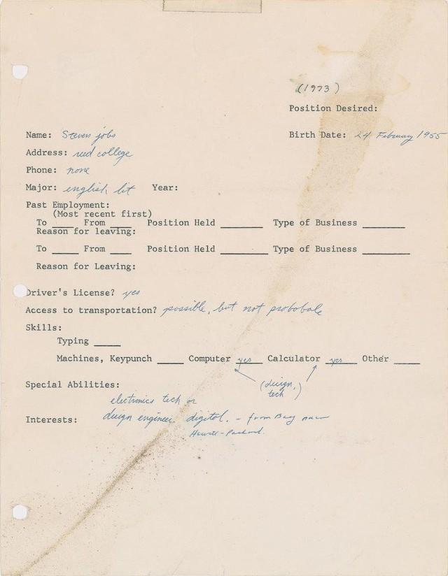 Steve Jobs viết sai cả tên công ty HP trong đơn xin việc của mình cách đây 45 năm - Ảnh 2.