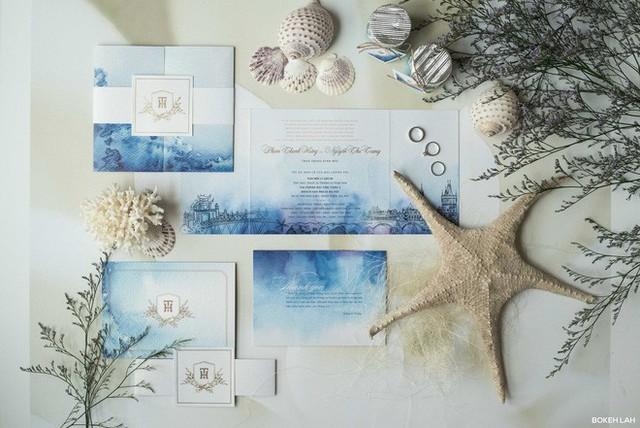 Cận cảnh đám cưới kỳ công xanh màu đại dương của Shark Hưng và cô dâu Á hậu - Ảnh 3.