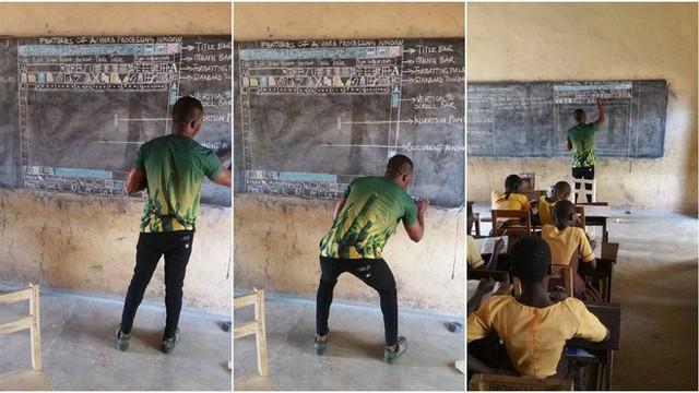 Đăng ảnh dạy MS Word bằng cách vẽ hình, thầy giáo châu Phi nổi tiếng trên Internet, được Microsoft tặng máy tính - Ảnh 1.