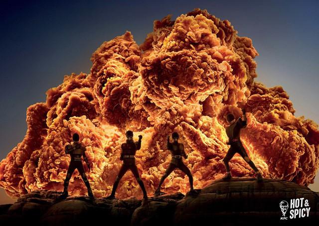 Print Ads xuất sắc của KFC: Miếng gà rán hay khói xe đua & tên lửa thế này? - Ảnh 2.