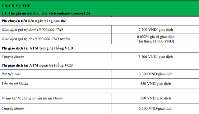 """Mỗi thẻ ATM Vietcombank đang """"cõng"""" bao nhiêu loại phí? - Ảnh 2."""