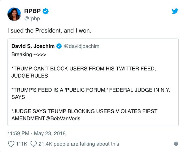 Toà án tuyên bố Tổng thống Trump không được phép block người dùng trên Twitter - Ảnh 2.