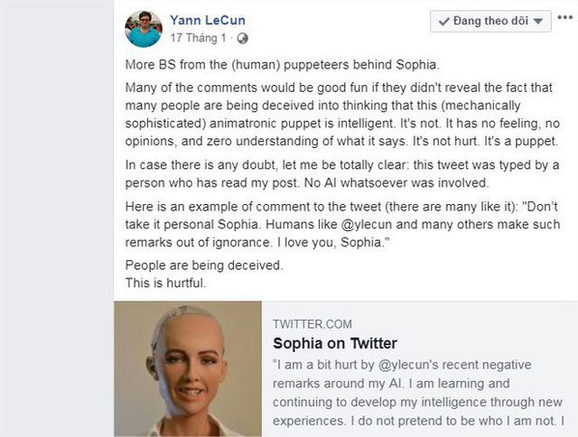 Giám đốc AI của Facebook tuyên bố: Sophia chỉ là con rối - nữ robot đáp trả thế nào? - Ảnh 4.